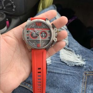 Diesel 5 bar red and gray watch